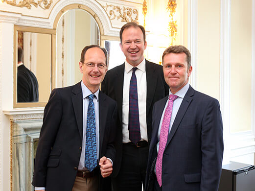TfN Chair, John Cridland, Minister, Jesse Norman,  TfN CEO, David Brown,  Northern Transport Summit 2017